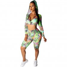 Print Colorful Crop Hoody and Shorts