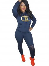 Print Sexy Tight Hoody and Pants Set