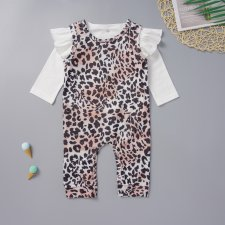 Baby Girl White Shirt and Leopard Jumpsuit