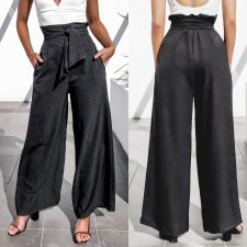 Casual Black Wide Legges High Waist Trousers with Belt