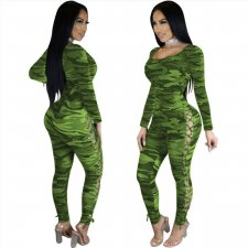 Sexy kanten camou bodycon jumpsuit