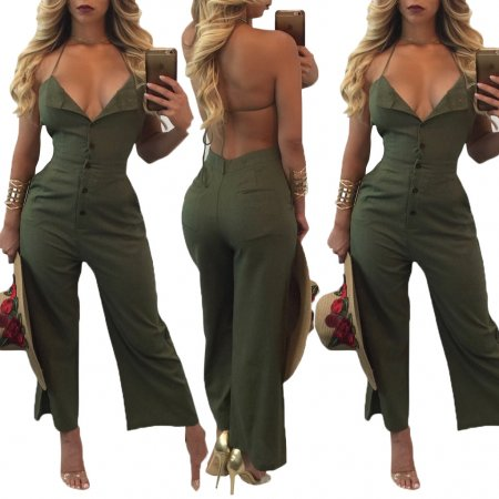 Army Green Button Up Halter Backless Jumpsuit 25607-1