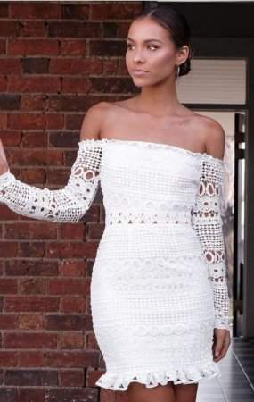 Off Shoulder White Hollow Out Chic Dress