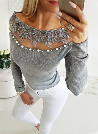 Beaded Grey Detailed Basic Shirt