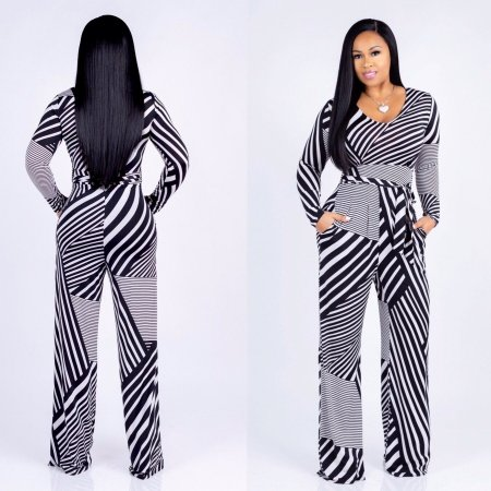 Long Sleeve Strippes White and Black Jumpsuit