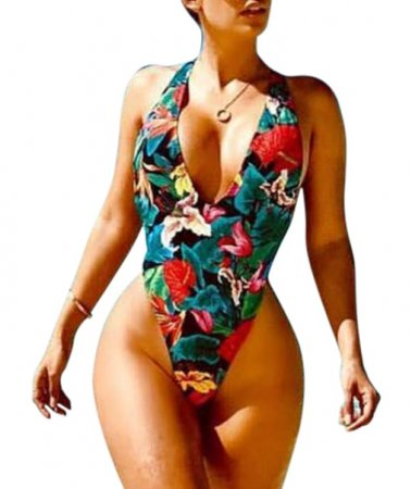 High Cut One-Piece Flower Swimwear