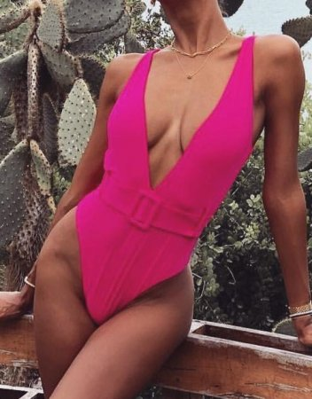 One-Piece Deep-V Plain Swimwear