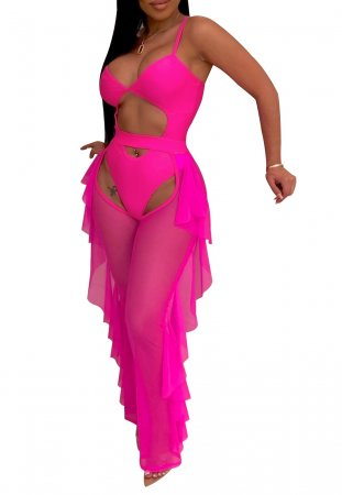 Pink Erotic Straps Club Jumpsuit