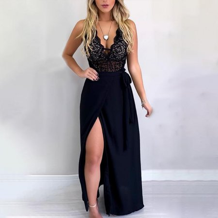 Lace Upper Black Wrapped Evening Dress