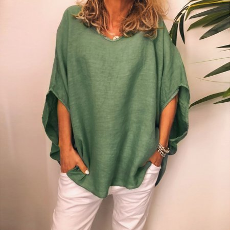 V-Neck Boho Blouse with Pop Sleeves