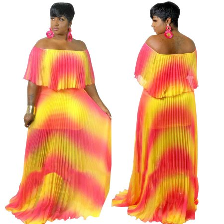 Off Shoulder Contrast Pleated Maxi Dress