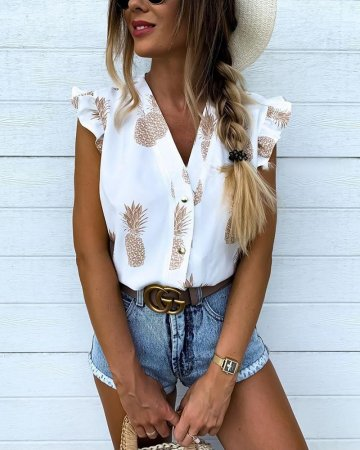 V-Neck Floral Blouse with Ruffle Cuffs