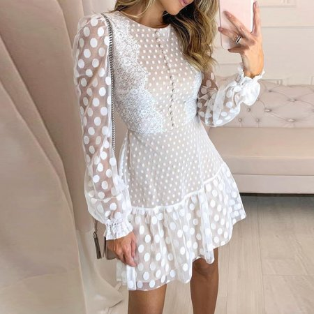 White Polka Long Sleeve Skater Dress