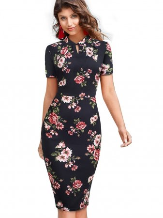 Short Sleeves Elegant Floral Midi Dress