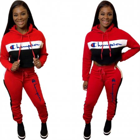 Sports Print Hoody Crop Top and Pants Suit