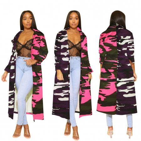Camou Print Long Autumn Coat
