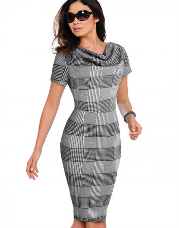 Short Sleeves Elegant Plaid Midi Dress