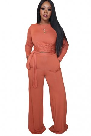 Solid Color Long Sleeves Knot Crop Top and Pants Suit