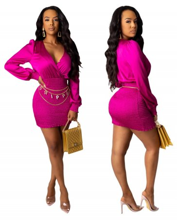 Sexy Hot Pink Wrapped Mini Party Dress
