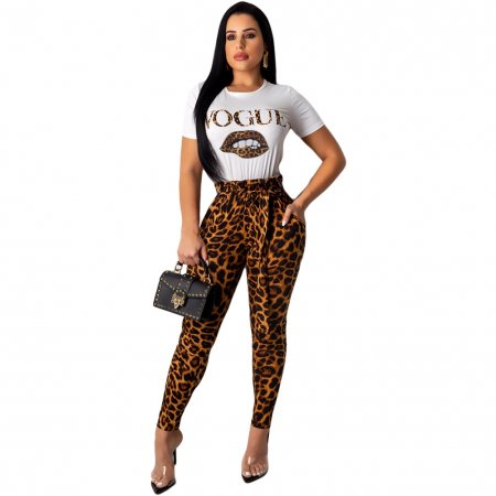 Leopard Print Tight Shirt and Pants Set