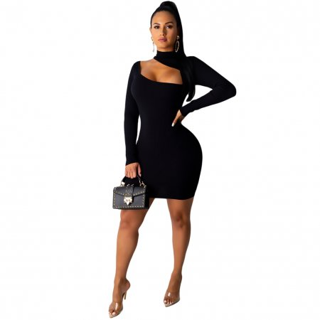 Sexy Cut Out Irregular Long Sleeve Bodycon Dress