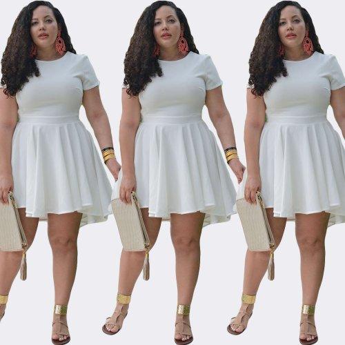 Wholesale Plus Size White Skater Dress 18454 | Global Lover