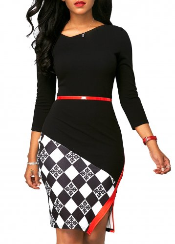 Patchwork Office Dress with 3/4 Sleeves
