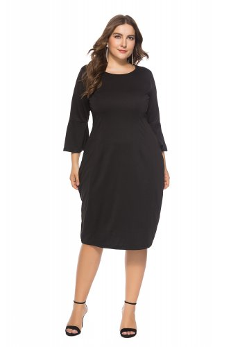Wholesale Plus Size Mature Women Dress with 3/4 Sleeves ...