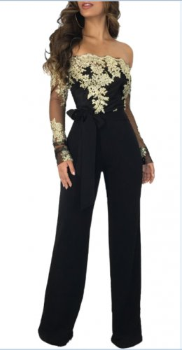 Lace Upper Sexy Chic Jumpsuit with Off Shoulder