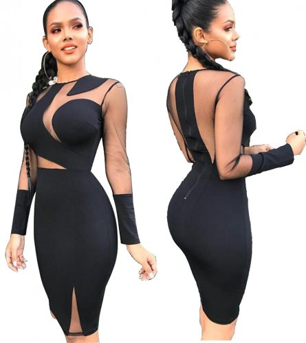 Long Sleeve Black Sexy Club Dress