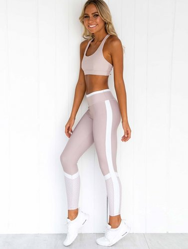 Block Color Fitness Yoga Vest and Leggings