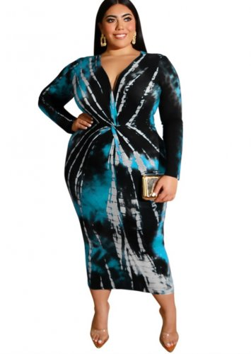 Plus Size V-Neck Batik Midi Dress
