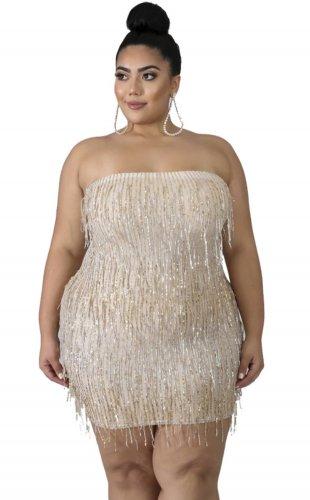Plus Size Sequins Strapless Fringe Dress