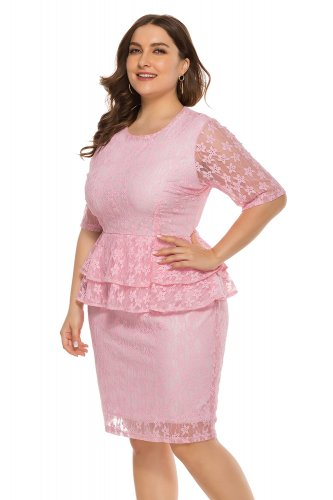Wholesale Plus Size Lace Peplum Dress with Short Sleeves ...