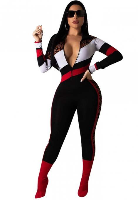 Zipped Up Contrast Long Sleeve Bodycon Jumpsuit