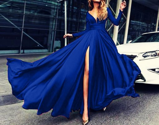 High Cut Sexy Long Sleeve V-Neck Evening Dress