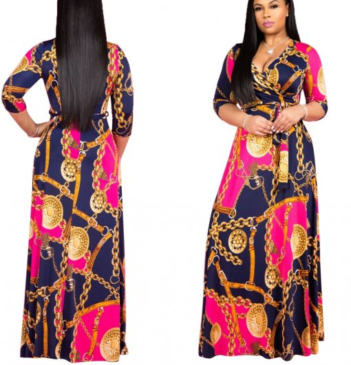 Print Wrap Maxi Dress with 3/4 Sleeves