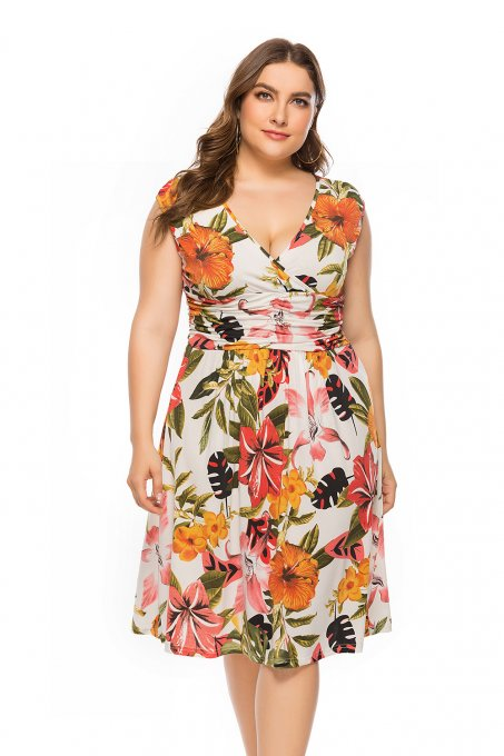Plus Size Print Sleeveless Wrap Midi Dress