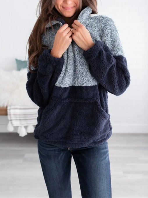 Rits Omhoog Contrast Pluche Pullover Tops