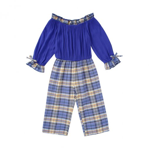 Kinder Mädchen Plaid Print Off Schulter Overall
