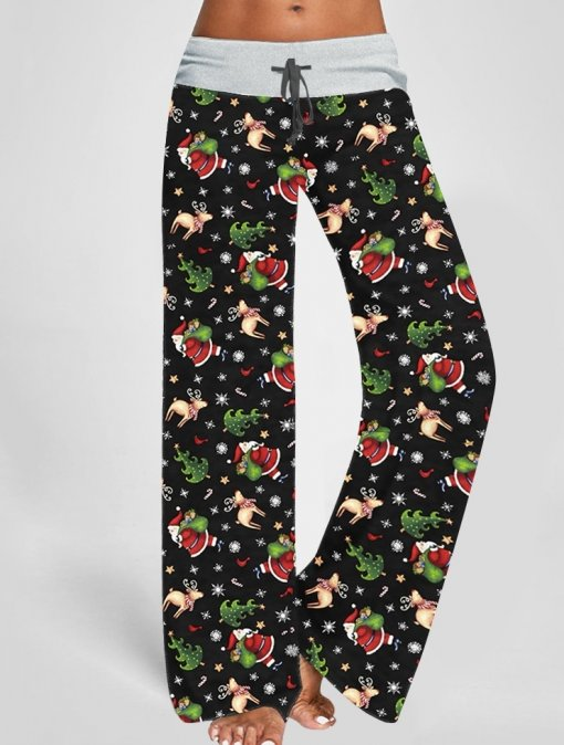 Weihnachten Print High Waist Home Pants