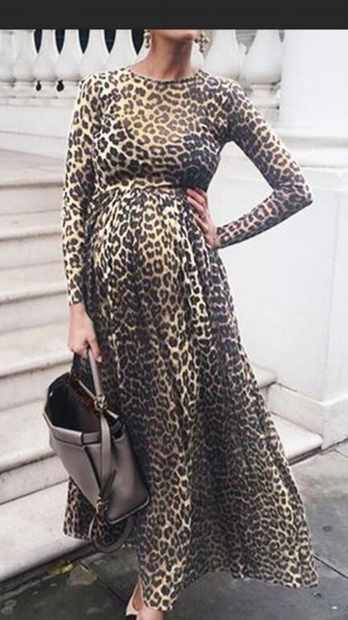 Preganent Mujeres Leopard Maternity Long Dress con mangas