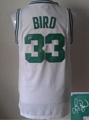 Revolution 30 Autographed Boston Celtics #33 Larry Bird White Stitched NBA Jersey
