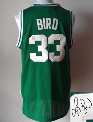 Revolution 30 Autographed Boston Celtics #33 Larry Bird Green Stitched NBA Jersey