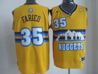 Denver Nuggets #35 Kenneth Faried Yellow Alternate Stitched NBA Jersey