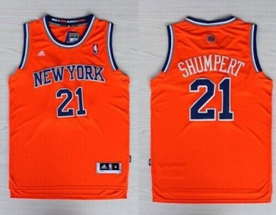 Revolution 30 New York Knicks #21 Iman Shumpert Orange Alternate Stitched NBA Jersey