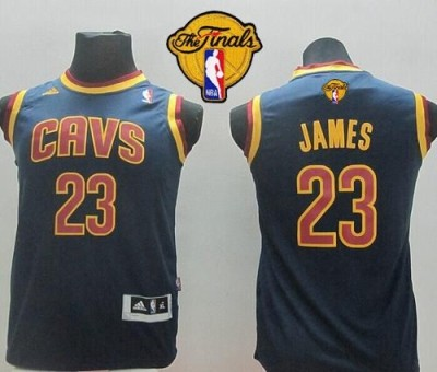 Revolution 30 Cleveland Cavaliers #23 LeBron James Dark Blue The Finals Patch Stitched Youth NBA Jersey