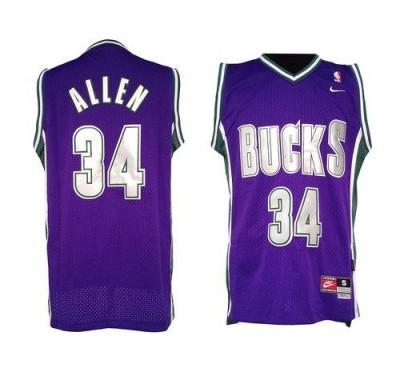 Milwaukee Bucks #34 Ray Allen Purple Soul Swingman Stitched NBA Jersey
