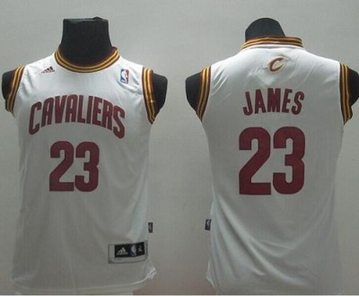 Revolution 30 Cleveland Cavaliers #23 LeBron James White Stitched Youth NBA Jersey