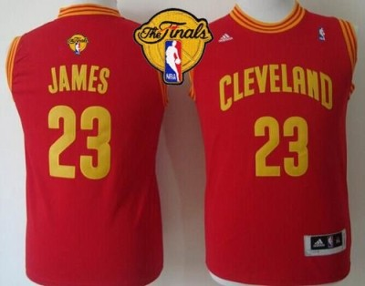 Revolution 30 Cleveland Cavaliers #23 LeBron James Red The Finals Patch Stitched Youth NBA Jersey